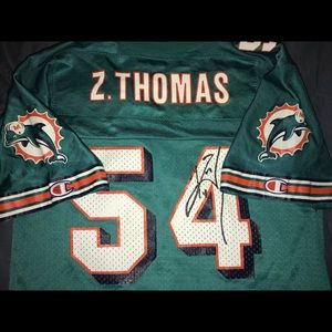 Vintage Autographed Zack Thomas Dolphins Jersey